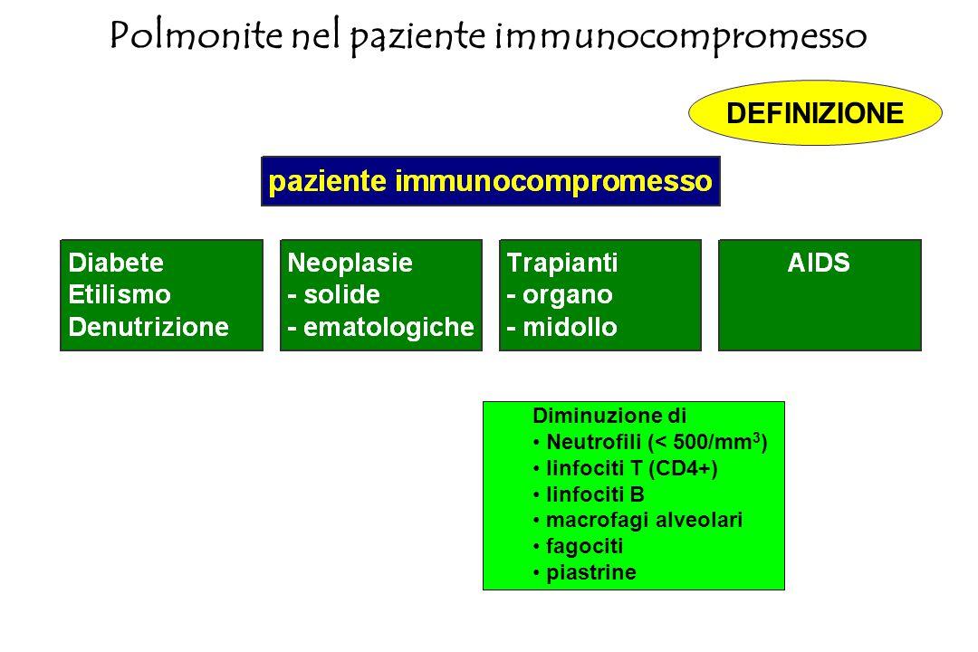 Si definisce immunocompromesso un soggetto che presenti un deficit congenito o acquisito della immunità cellulo-mediata. Polmonite nel paziente immuno