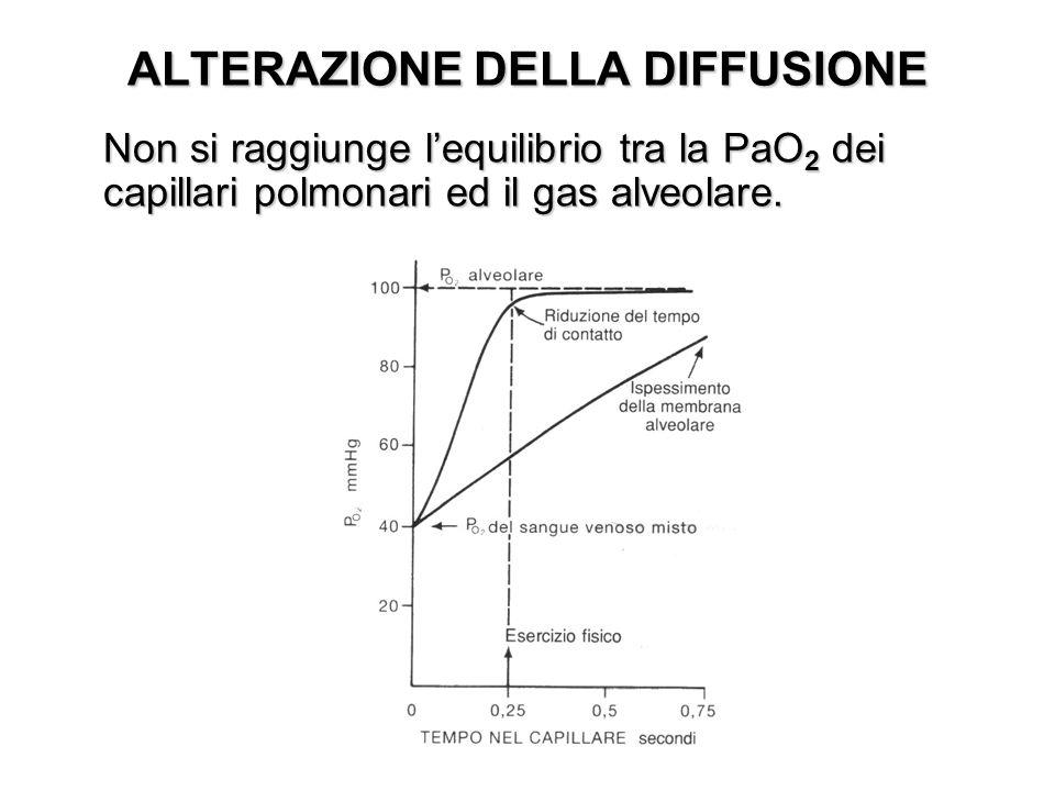 ALTERAZIONE DELLA DIFFUSIONE Non si raggiunge lequilibrio tra la PaO 2 dei capillari polmonari ed il gas alveolare.