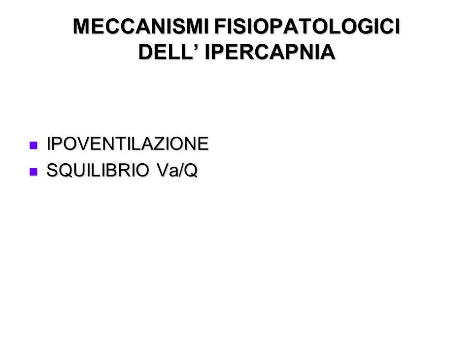 MECCANISMI FISIOPATOLOGICI DELL IPERCAPNIA IPOVENTILAZIONE IPOVENTILAZIONE SQUILIBRIO Va/Q SQUILIBRIO Va/Q