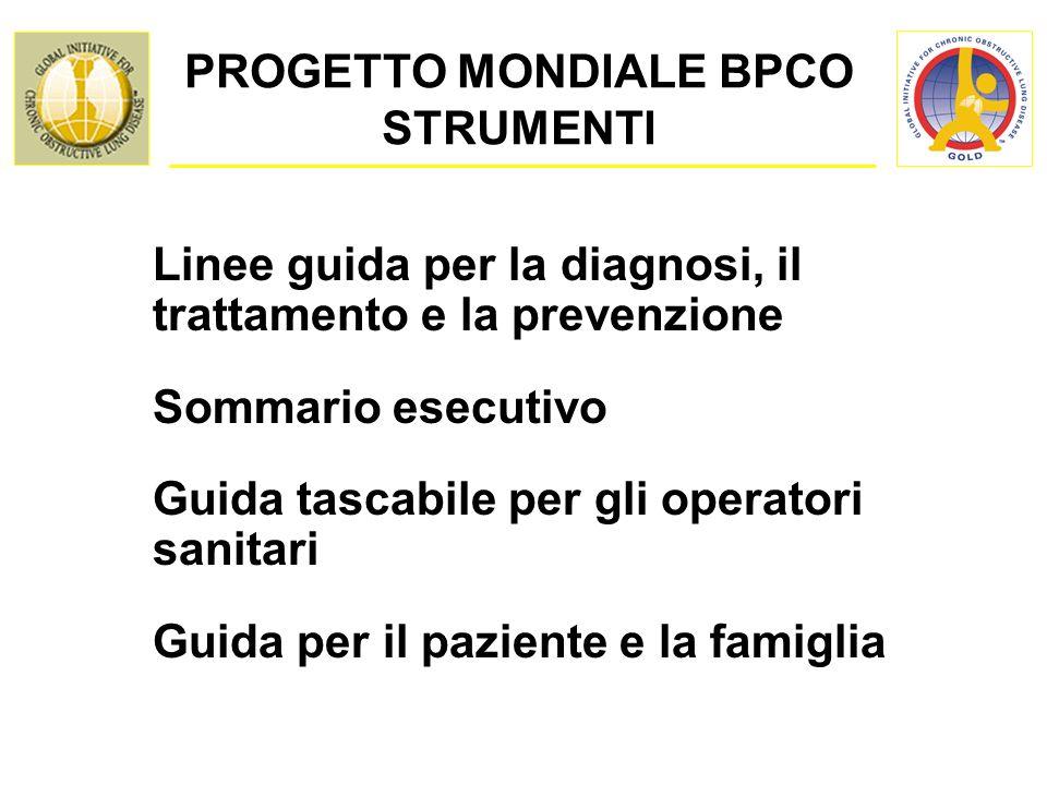 PROGETTO MONDIALE BPCO STRUMENTI Linee guida per la diagnosi, il trattamento e la prevenzione Sommario esecutivo Guida tascabile per gli operatori sanitari Guida per il paziente e la famiglia