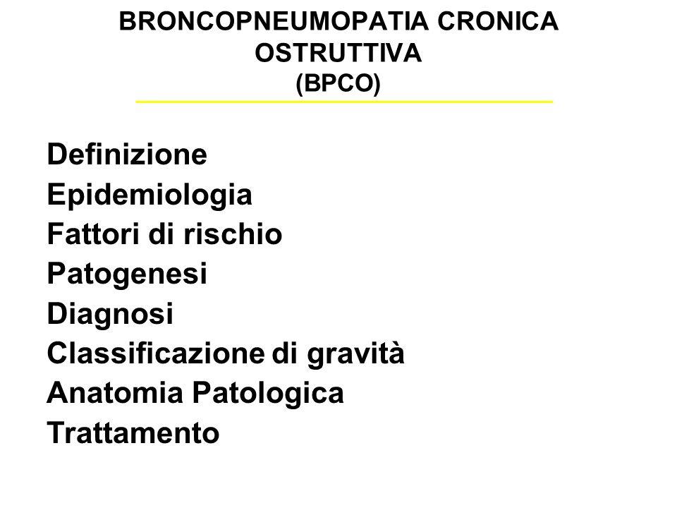 BRONCOPNEUMOPATIA CRONICA OSTRUTTIVA (BPCO) Definizione Epidemiologia Fattori di rischio Patogenesi Diagnosi Classificazione di gravità Anatomia Patologica Trattamento