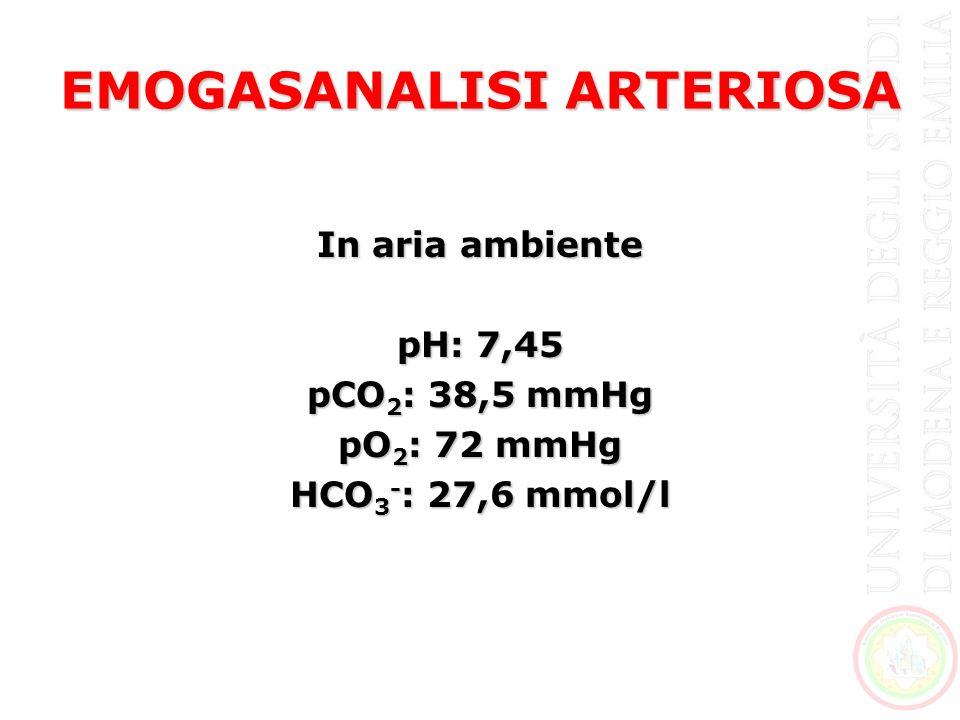 EMOGASANALISI ARTERIOSA In aria ambiente pH: 7,45 pCO 2 : 38,5 mmHg pO 2 : 72 mmHg HCO 3 - : 27,6 mmol/l