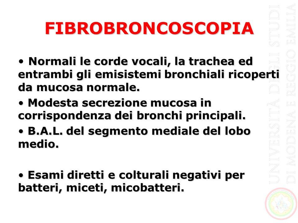 FIBROBRONCOSCOPIA Normali le corde vocali, la trachea ed entrambi gli emisistemi bronchiali ricoperti da mucosa normale. Modesta secrezione mucosa in
