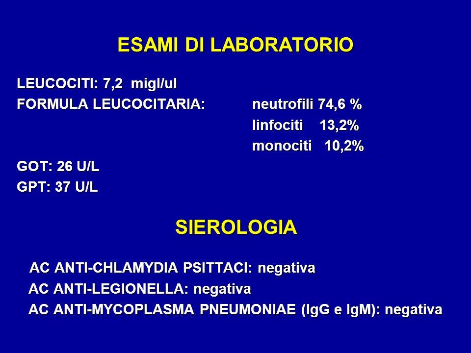 ESAMI DI LABORATORIO LEUCOCITI: 7,2 migl/ul FORMULA LEUCOCITARIA:neutrofili 74,6 % linfociti 13,2% linfociti 13,2% monociti 10,2% GOT: 26 U/L GPT: 37 U/L SIEROLOGIA AC ANTI-CHLAMYDIA PSITTACI: negativa AC ANTI-CHLAMYDIA PSITTACI: negativa AC ANTI-LEGIONELLA: negativa AC ANTI-LEGIONELLA: negativa AC ANTI-MYCOPLASMA PNEUMONIAE (IgG e IgM): negativa AC ANTI-MYCOPLASMA PNEUMONIAE (IgG e IgM): negativa