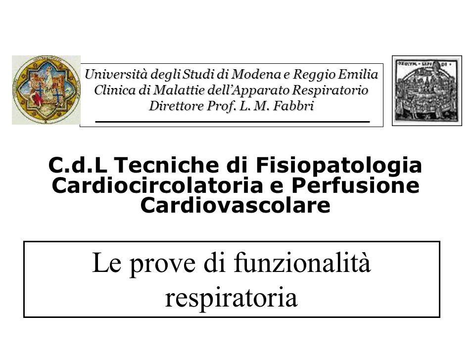 La Ventilazione: Prove di Funzionalità Respiratoria Gli scambi gassosi: Emogasanalisi arteriosa Test di funzionalità polmonare