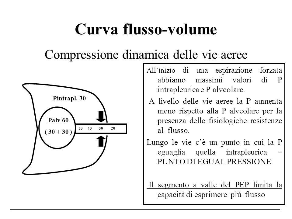 Curva flusso-volume Allinizio di una espirazione forzata abbiamo massimi valori di P intrapleurica e P alveolare. A livello delle vie aeree la P aumen