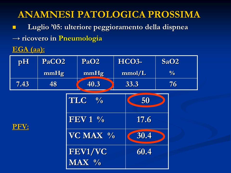 ANAMNESI PATOLOGICA PROSSIMA Luglio 05: ulteriore peggioramento della dispnea Luglio 05: ulteriore peggioramento della dispnea ricovero in Pneumologia ricovero in Pneumologia EGA (aa): PFV: pH pH PaCO2 PaCO2 mmHg mmHg PaO2 PaO2 mmHg mmHg HCO3- HCO3- mmol/L mmol/L SaO2 SaO2 % 7.43 7.43 48 48 40.3 40.3 33.3 33.3 76 76 TLC % 50 50 FEV 1 % 17.6 17.6 VC MAX % 30.4 30.4 FEV1/VC MAX % 60.4 60.4