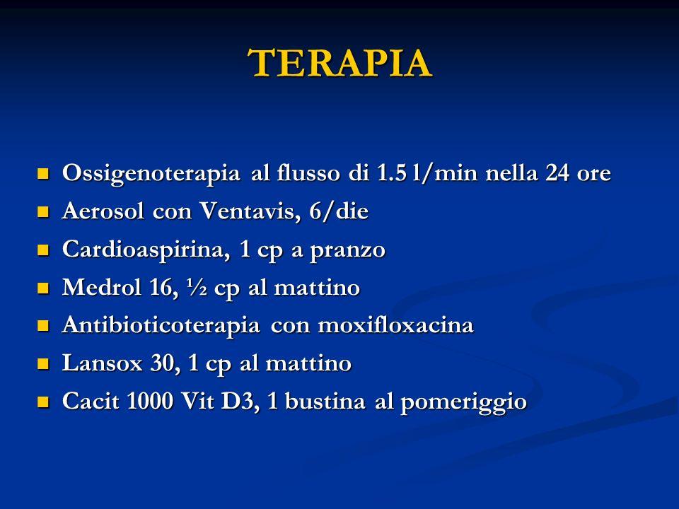 TERAPIA Ossigenoterapia al flusso di 1.5 l/min nella 24 ore Ossigenoterapia al flusso di 1.5 l/min nella 24 ore Aerosol con Ventavis, 6/die Aerosol con Ventavis, 6/die Cardioaspirina, 1 cp a pranzo Cardioaspirina, 1 cp a pranzo Medrol 16, ½ cp al mattino Medrol 16, ½ cp al mattino Antibioticoterapia con moxifloxacina Antibioticoterapia con moxifloxacina Lansox 30, 1 cp al mattino Lansox 30, 1 cp al mattino Cacit 1000 Vit D3, 1 bustina al pomeriggio Cacit 1000 Vit D3, 1 bustina al pomeriggio