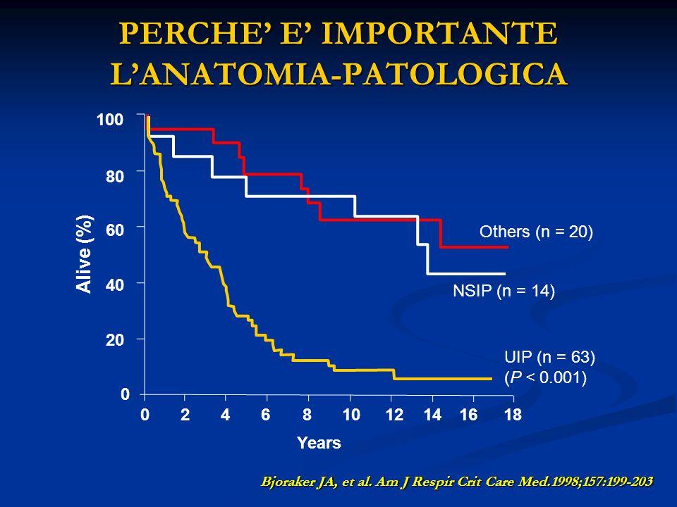 PERCHE E IMPORTANTE LANATOMIA-PATOLOGICA Bjoraker JA, et al. Am J Respir Crit Care Med.1998;157:199-203 Years 024681012141618 0 20 40 60 80 100 UIP (n