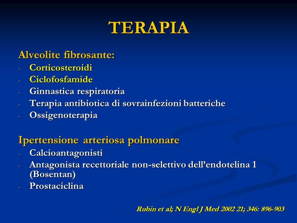 TERAPIA Alveolite fibrosante: - Corticosteroidi - Ciclofosfamide - Ginnastica respiratoria - Terapia antibiotica di sovrainfezioni batteriche - Ossigenoterapia Ipertensione arteriosa polmonare - Calcioantagonisti - Antagonista recettoriale non-selettivo dellendotelina 1 (Bosentan) - Prostaciclina Rubin et al; N Engl J Med 2002 21; 346: 896-903