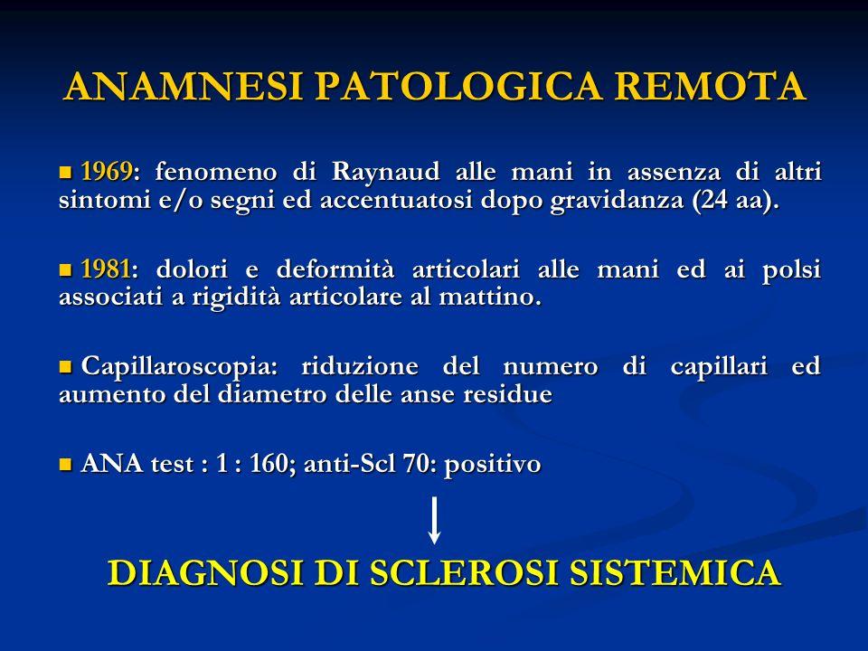 ANAMNESI PATOLOGICA REMOTA 1969: fenomeno di Raynaud alle mani in assenza di altri sintomi e/o segni ed accentuatosi dopo gravidanza (24 aa).