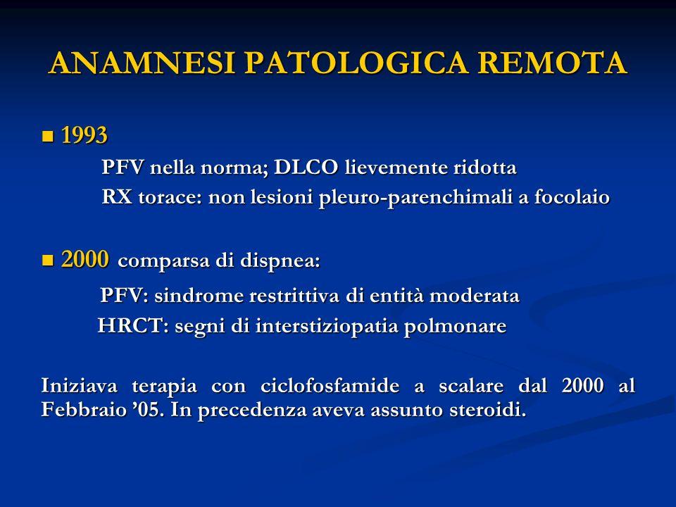 ANAMNESI PATOLOGICA REMOTA 1993 1993 PFV nella norma; DLCO lievemente ridotta RX torace: non lesioni pleuro-parenchimali a focolaio 2000 comparsa di dispnea: 2000 comparsa di dispnea: PFV: sindrome restrittiva di entità moderata PFV: sindrome restrittiva di entità moderata HRCT: segni di interstiziopatia polmonare HRCT: segni di interstiziopatia polmonare Iniziava terapia con ciclofosfamide a scalare dal 2000 al Febbraio 05.