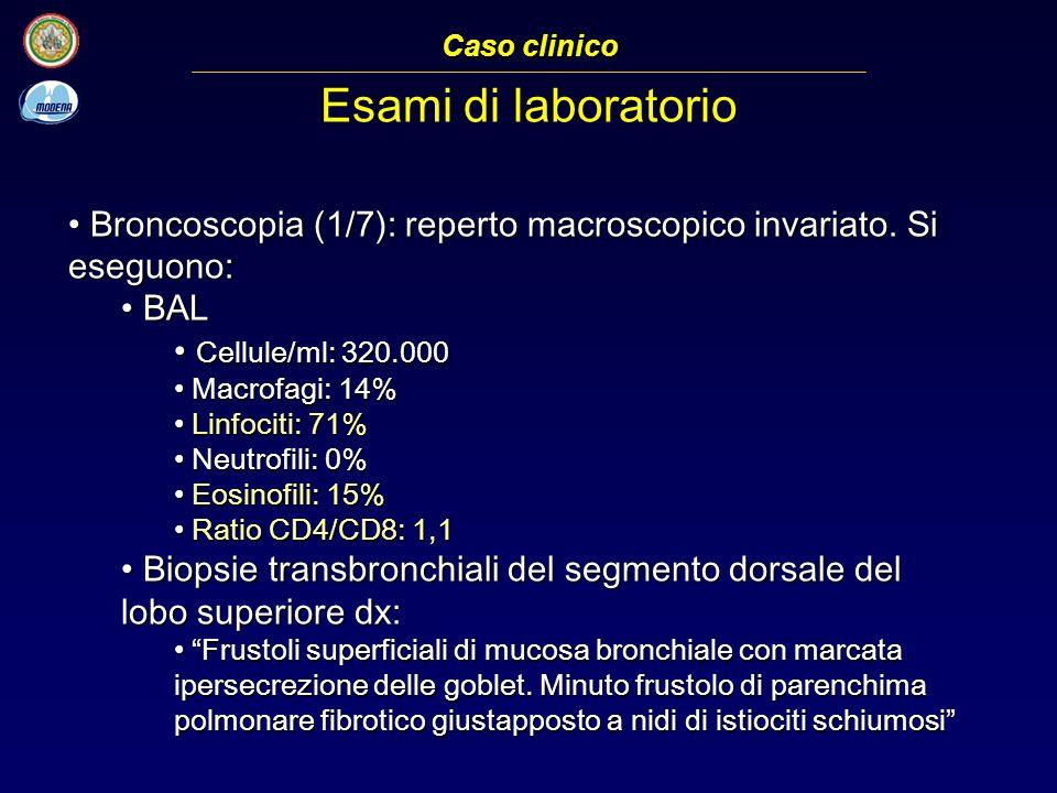 Broncoscopia (1/7): reperto macroscopico invariato.