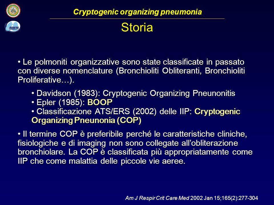 Le polmoniti organizzative sono state classificate in passato con diverse nomenclature (Bronchioliti Obliteranti, Bronchioliti Proliferative…).