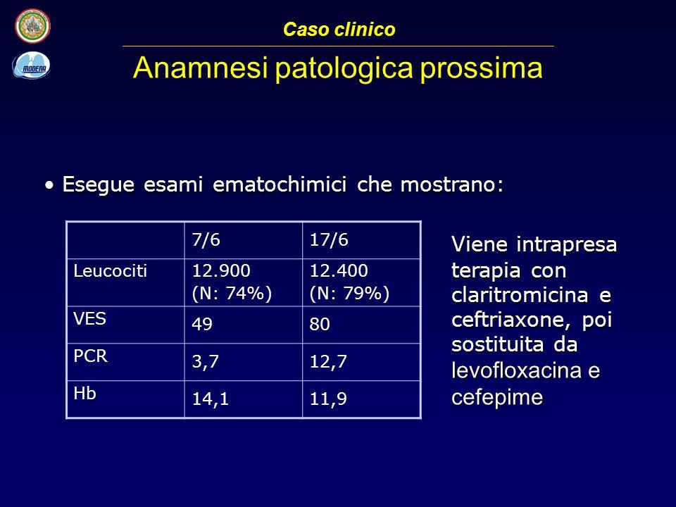 Esegue esami ematochimici che mostrano: Esegue esami ematochimici che mostrano: Caso clinico Anamnesi patologica prossima 7/617/6 Leucociti 12.900 (N: 74%) 12.400 (N: 79%) VES 4980 PCR 3,712,7 Hb 14,111,9 Viene intrapresa terapia con claritromicina e ceftriaxone, poi sostituita da levofloxacina e cefepime