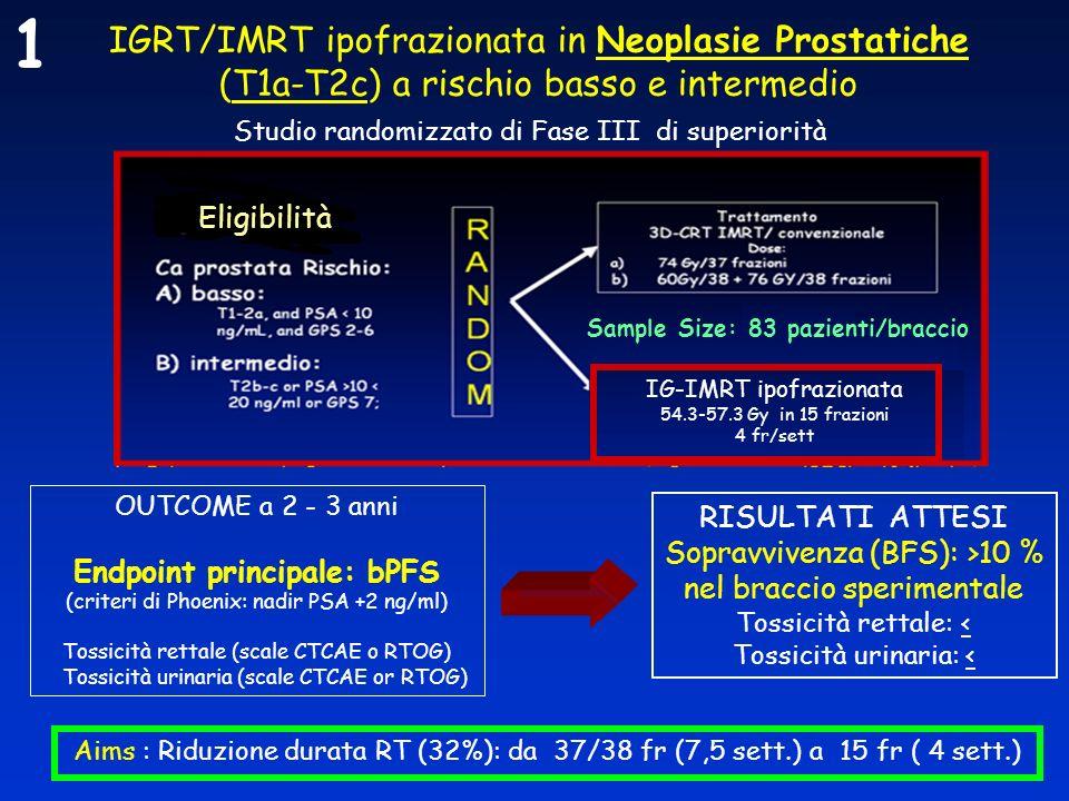 IGRT/IMRT ipofrazionata in Neoplasie Prostatiche (T1a-T2c) a rischio basso e intermedio OUTCOME a 2 - 3 anni Endpoint principale: bPFS (criteri di Pho