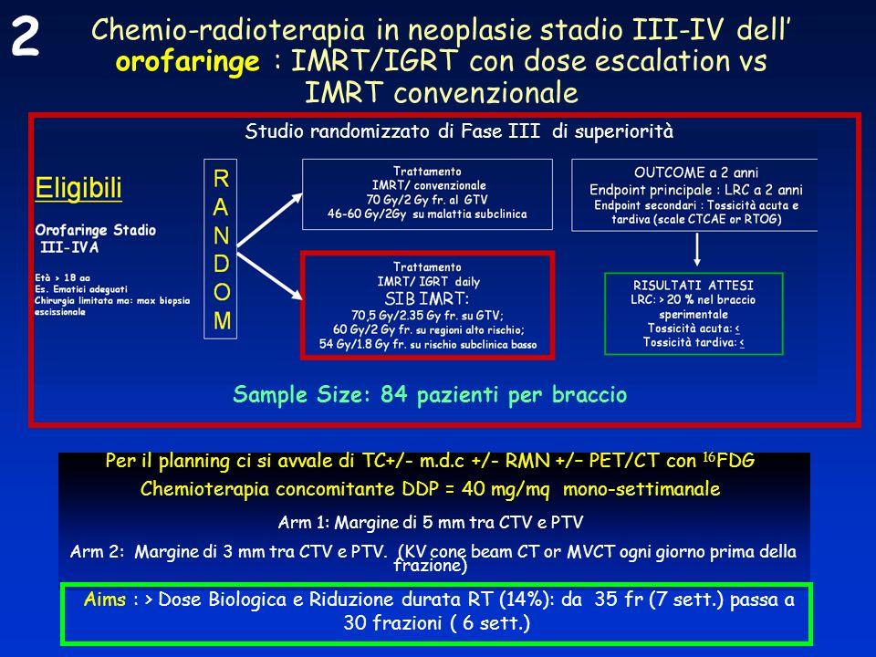 Chemio-radioterapia in neoplasie stadio III-IV dell orofaringe : IMRT/IGRT con dose escalation vs IMRT convenzionale Per il planning ci si avvale di T