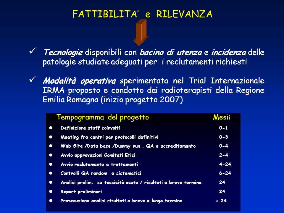 FATTIBILITA e RILEVANZA Tecnologie disponibili con bacino di utenza e incidenza delle patologie studiate adeguati per i reclutamenti richiesti Modalit