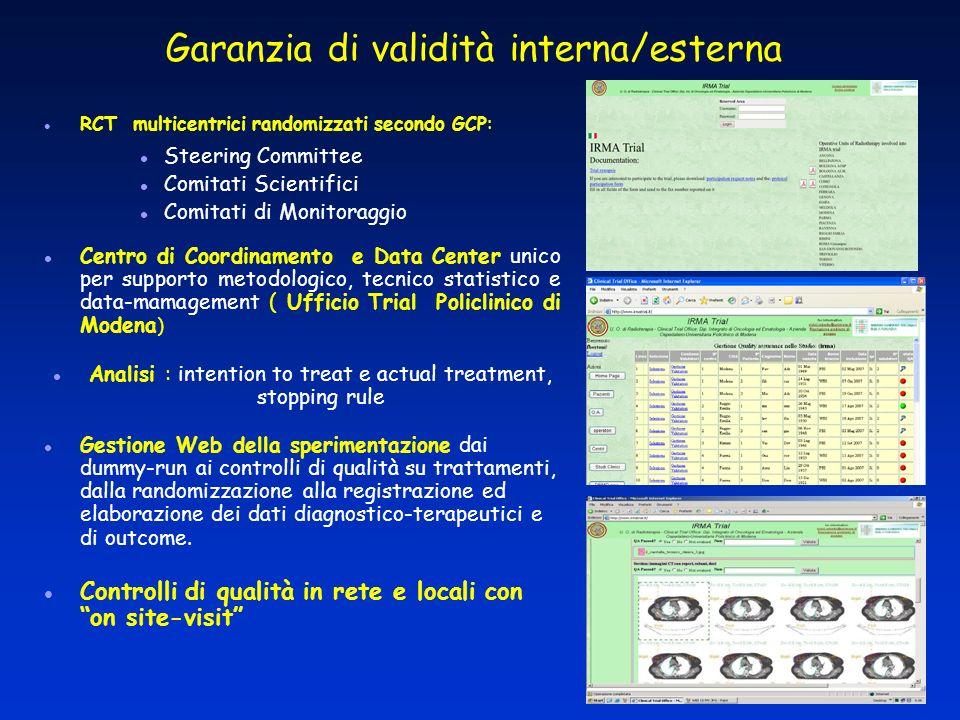 RCT multicentrici randomizzati secondo GCP: Steering Committee Comitati Scientifici Comitati di Monitoraggio Centro di Coordinamento e Data Center uni