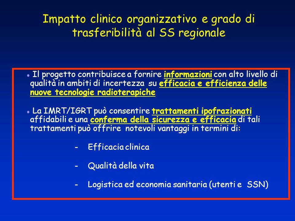 Impatto clinico organizzativo e grado di trasferibilità al SS regionale Il progetto contribuisce a fornire informazioni con alto livello di qualità in