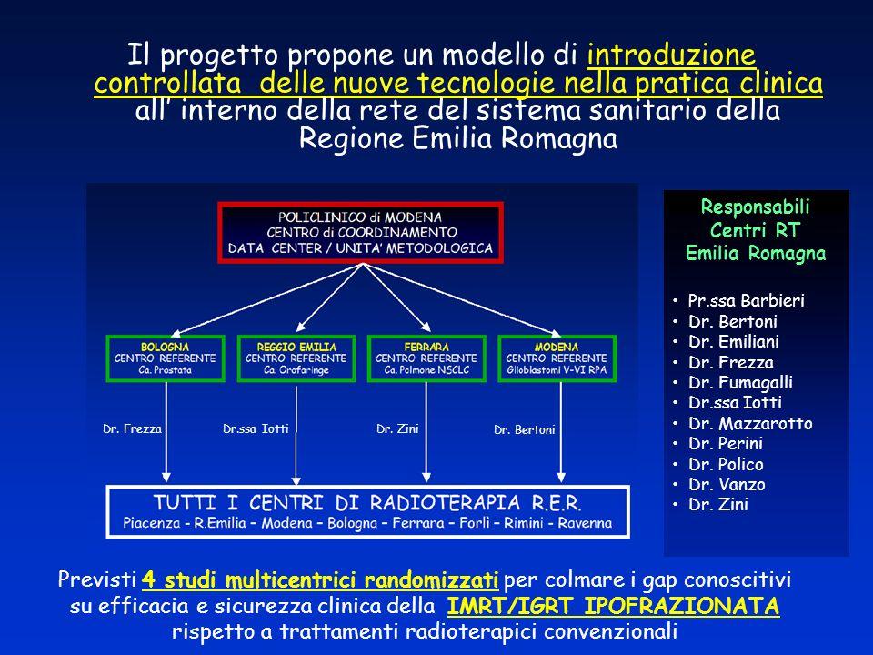 IGRT/IMRT ipofrazionata in Neoplasie Prostatiche (T1a-T2c) a rischio basso e intermedio OUTCOME a 2 - 3 anni Endpoint principale: bPFS (criteri di Phoenix: nadir PSA +2 ng/ml) Tossicità rettale (scale CTCAE o RTOG) Tossicità urinaria (scale CTCAE or RTOG) RISULTATI ATTESI Sopravvivenza (BFS): >10 % nel braccio sperimentale Tossicità rettale: < Tossicità urinaria: < Studio randomizzato di Fase III di superiorità Aims : Riduzione durata RT (32%): da 37/38 fr (7,5 sett.) a 15 fr ( 4 sett.) 1 Eligibilità IG-IMRT ipofrazionata 54.3-57.3 Gy in 15 frazioni 4 fr/sett Sample Size: 83 pazienti/braccio