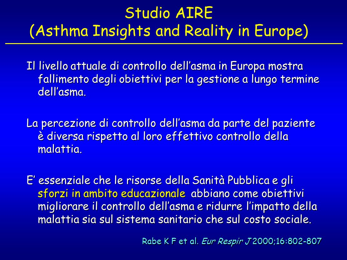 The control of asthma in Italy.