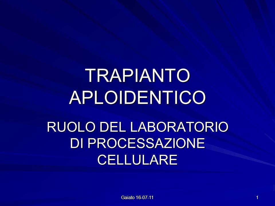 TRAPIANTO APLOIDENTICO RUOLO DEL LABORATORIO DI PROCESSAZIONE CELLULARE 1 Gaiato 16-07-11