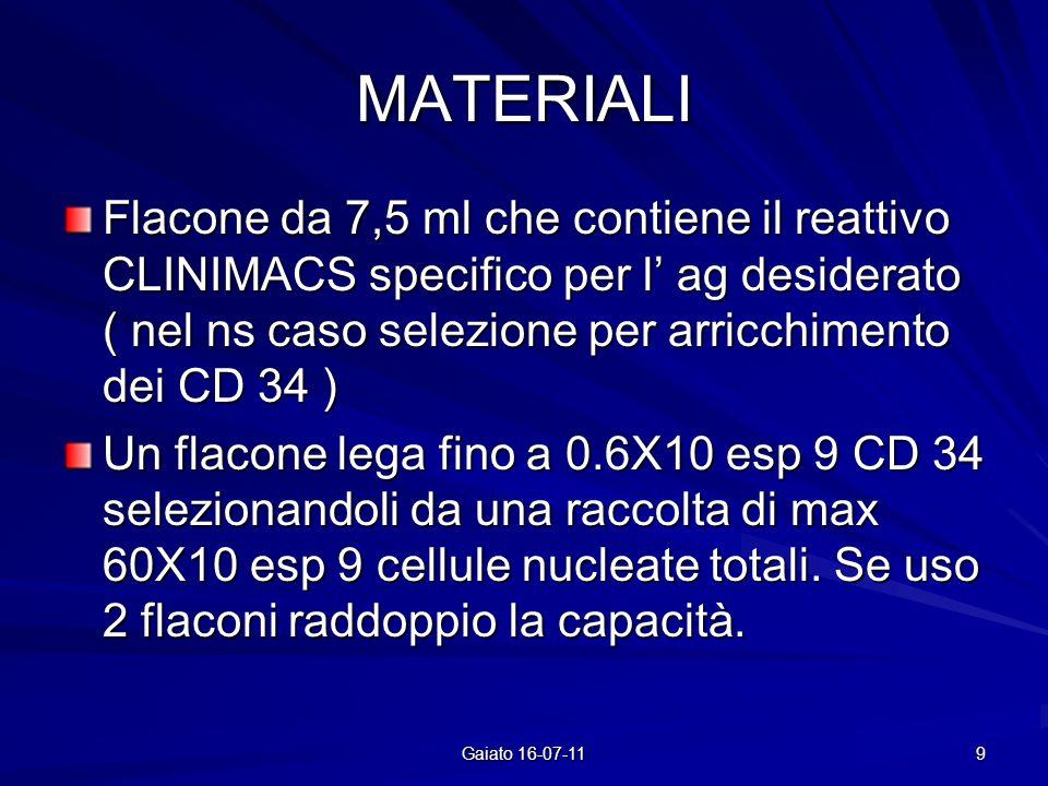 MATERIALI Flacone da 7,5 ml che contiene il reattivo CLINIMACS specifico per l ag desiderato ( nel ns caso selezione per arricchimento dei CD 34 ) Un flacone lega fino a 0.6X10 esp 9 CD 34 selezionandoli da una raccolta di max 60X10 esp 9 cellule nucleate totali.