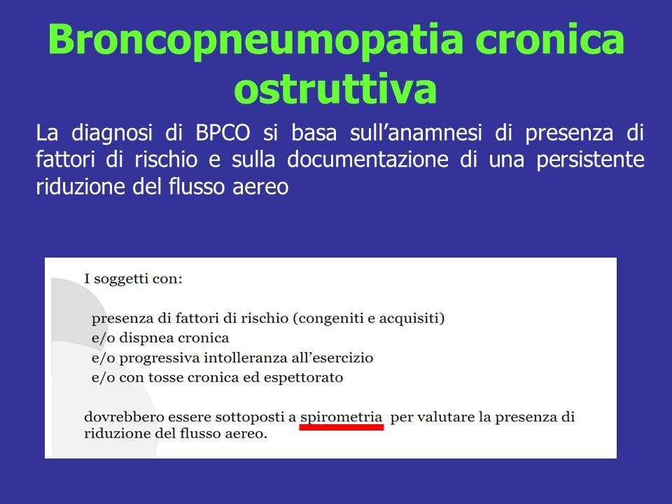 Broncopneumopatia cronica ostruttiva La diagnosi di BPCO si basa sullanamnesi di presenza di fattori di rischio e sulla documentazione di una persistente riduzione del flusso aereo