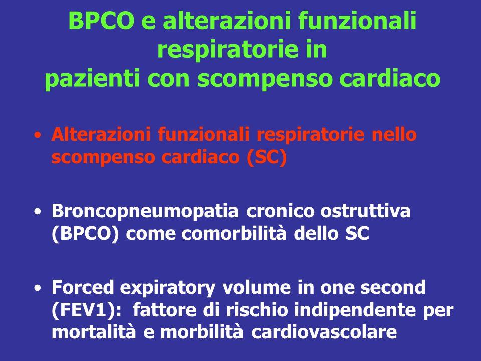 Alterazioni funzionali respiratorie nello scompenso cardiaco (SC) Broncopneumopatia cronico ostruttiva (BPCO) come comorbilità dello SC Forced expiratory volume in one second (FEV1): fattore di rischio indipendente per mortalità e morbilità cardiovascolare