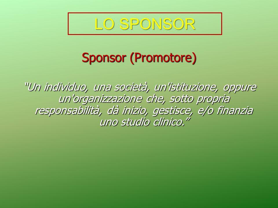 Sponsor (Promotore) Un individuo, una società, un'istituzione, oppure un'organizzazione che, sotto propria responsabilità, dà inizio, gestisce, e/o fi