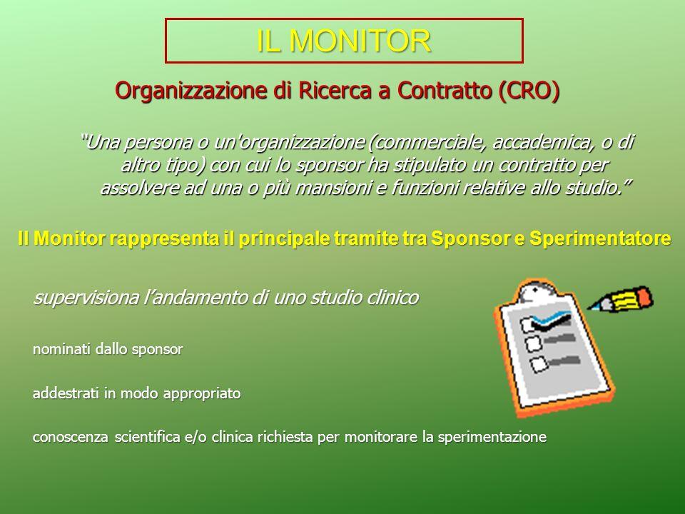 Organizzazione di Ricerca a Contratto (CRO) Una persona o un'organizzazione (commerciale, accademica, o di altro tipo) con cui lo sponsor ha stipulato