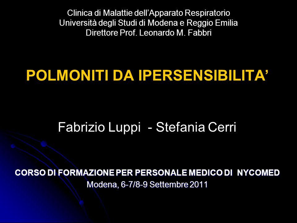 Clinica di Malattie dellApparato Respiratorio Università degli Studi di Modena e Reggio Emilia Direttore Prof. Leonardo M. Fabbri POLMONITI DA IPERSEN