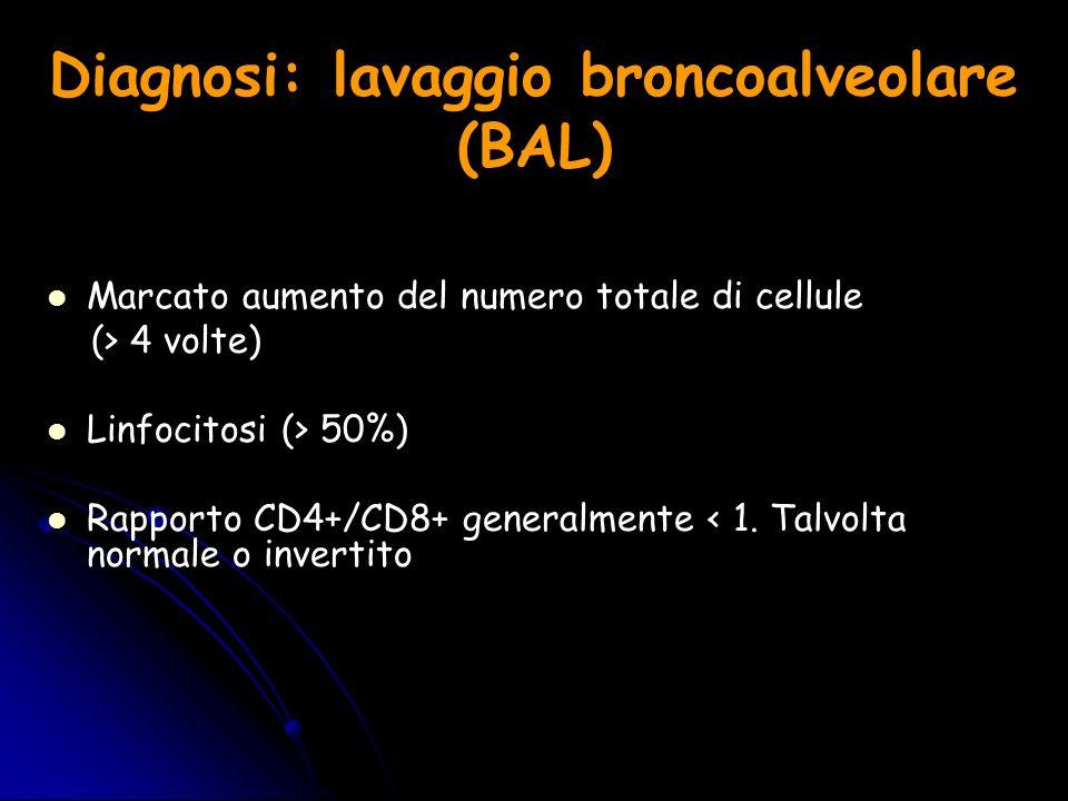 Diagnosi: lavaggio broncoalveolare (BAL) Marcato aumento del numero totale di cellule (> 4 volte) Linfocitosi (> 50%) Rapporto CD4+/CD8+ generalmente