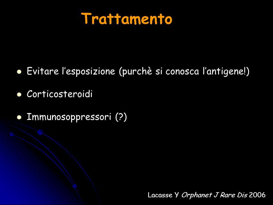 Trattamento Evitare lesposizione (purchè si conosca lantigene!) Corticosteroidi Immunosoppressori (?) Lacasse Y Orphanet J Rare Dis 2006