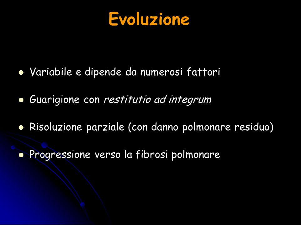 Evoluzione Variabile e dipende da numerosi fattori Guarigione con restitutio ad integrum Risoluzione parziale (con danno polmonare residuo) Progressio