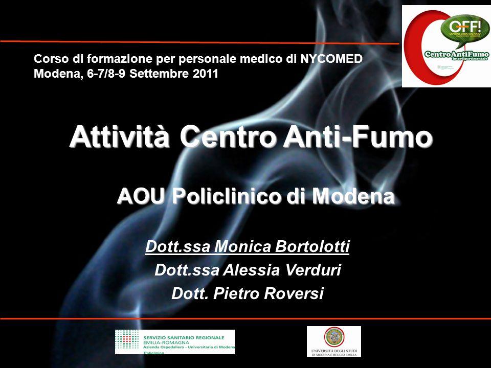 1- Mortalità fumo-correlata in Italia e nel mondo 2- Dipendenza da nicotina 3- Terapia per la disassuefazione da fumo 4- Centro Antifumo Policlinico di Modena