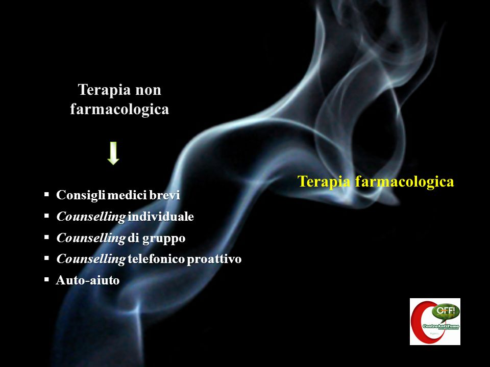 Terapia farmacologica Terapia non farmacologica Consigli medici brevi Consigli medici brevi Counselling individuale Counselling individuale Counsellin