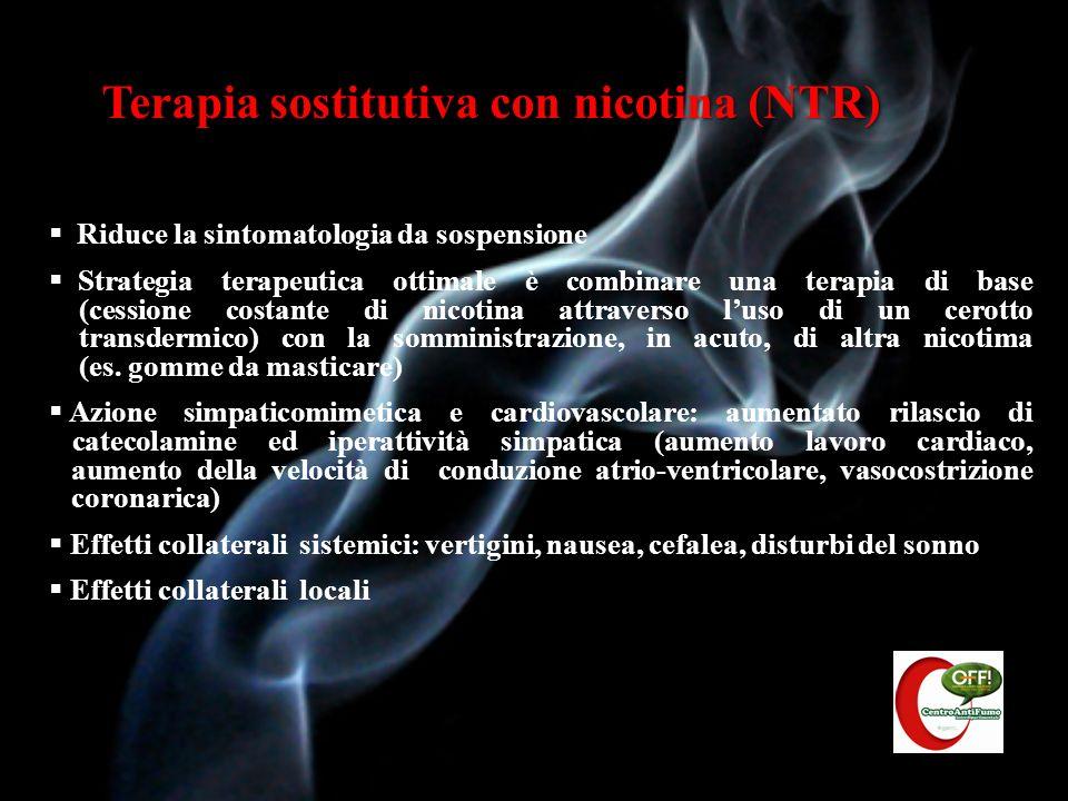 Effetti collaterali e utilizzo dei preparati NTR NTREffetti collateraliPosologia Soluzione per inalazioneIrritazione del cavo orale, faringe e vie nasali 5-15 cartucce/die per 2 mesi (max 6 mesi) Gomma da masticareBruciore, irritazione al cavo orale, dispepsia, esofagite 2 mg (per consumo<20-25 sigarette/die 4 mg (per consumo>25 sigarette/die) Max 20 gomme/die per 2 mesi (max 6 mesi) Compresse sublingualiIrritazione del cavo orale ed esofago8-12 cpr/die fino a max 40 per 2 mesi (max 6 mesi) PastiglieIrritazione del cavo orale ed esofago8-15 pastiglie/die (1 o 2 mg) per almeno 3 mesi Cerotto transdermicoIrritazione cutanea Sintomatologia astinenziale al mattino (cerotto 16 h in fumatori con forte dipendenza) Insonnia (cerotto 24 h) Confezioni da 5, 10, 15 mg da usare preferibilmente per 16 ore Confezioni da 7, 14, 21 mg da usare preferibilmente per 24 ore Usare per 2 mesi (max 6 mesi) Dopo 4 settimane di alte dosi, ridurre il dosaggio Spray nasaleIrritazione mucosa nasale8-40 puff/die per 2 mesi (max 6 mesi)