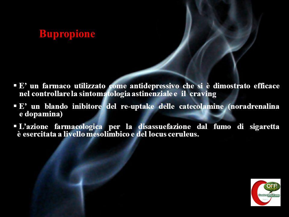 Terapia con Bupropione Non è chimicamente correlato alla nicotina È un modulatore dell attività neuronale (inibitore selettivo del re-uptake di dopamina e noradrenalina) Modalità di somministrazione: - dal giorno 1 al giorno 6 1cp/die da 150 mg; il paziente è libero di fumare - dal giorno 7 e per un totale di almeno 8 settimane: 300mg/ die in due somministrazioni (distanziate di almeno 8 ore) Tra il giorno 7 e il giorno 14: stabilire con esattezza lo stopping-day