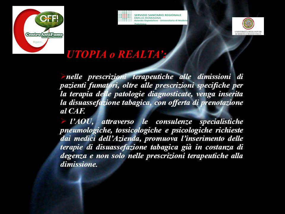 Attività Centro Anti-Fumo AOU Policlinico di Modena AOU Policlinico di Modena Dott.ssa Monica Bortolotti Dott.ssa Alessia Verduri Dott.