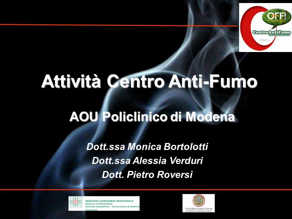 Attività Centro Anti-Fumo AOU Policlinico di Modena AOU Policlinico di Modena Dott.ssa Monica Bortolotti Dott.ssa Alessia Verduri Dott. Pietro Roversi
