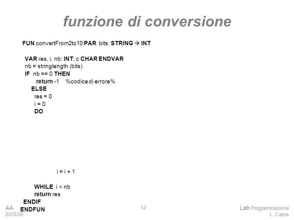 AA 2005/06 Lab Programmazione L.