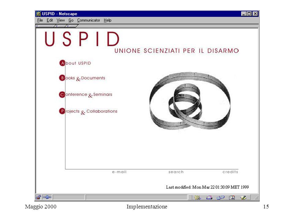 Maggio 2000Implementazione15