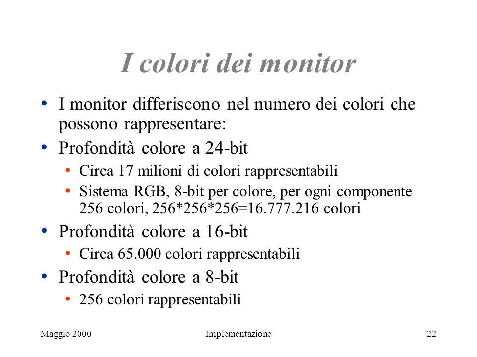 Maggio 2000Implementazione22 I colori dei monitor I monitor differiscono nel numero dei colori che possono rappresentare: Profondità colore a 24-bit C