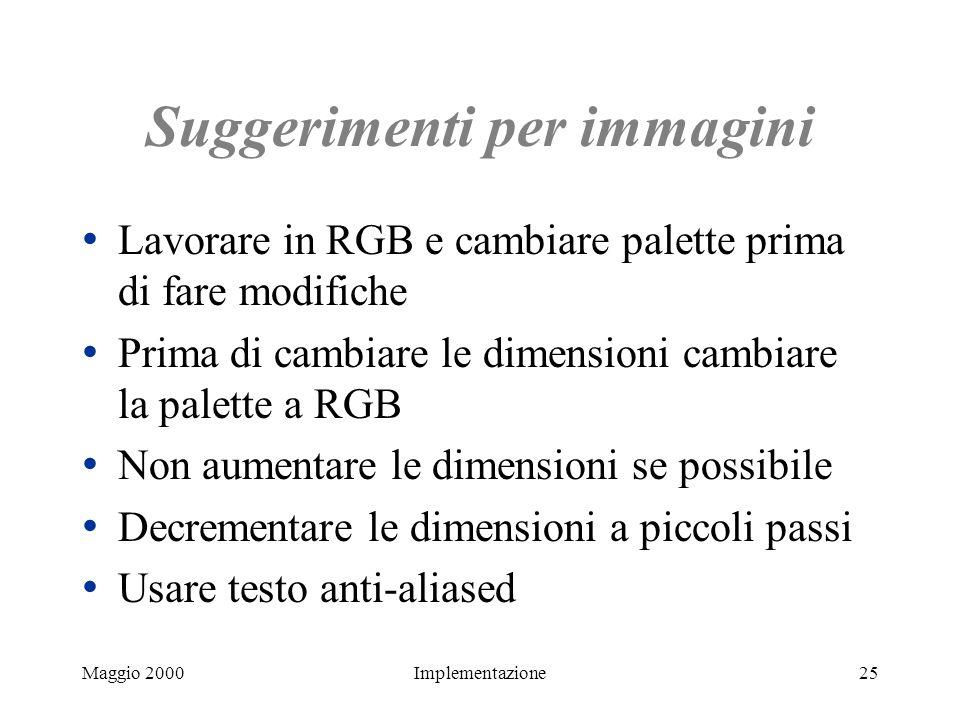 Maggio 2000Implementazione25 Suggerimenti per immagini Lavorare in RGB e cambiare palette prima di fare modifiche Prima di cambiare le dimensioni camb