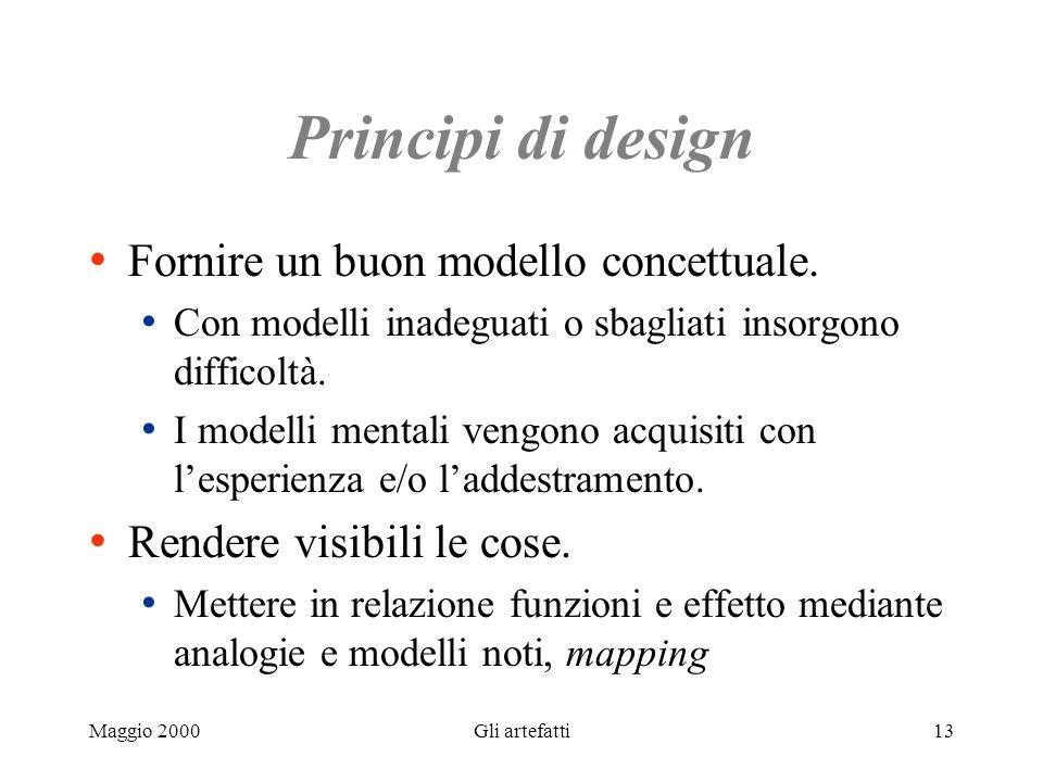 Maggio 2000Gli artefatti13 Principi di design Fornire un buon modello concettuale. Con modelli inadeguati o sbagliati insorgono difficoltà. I modelli