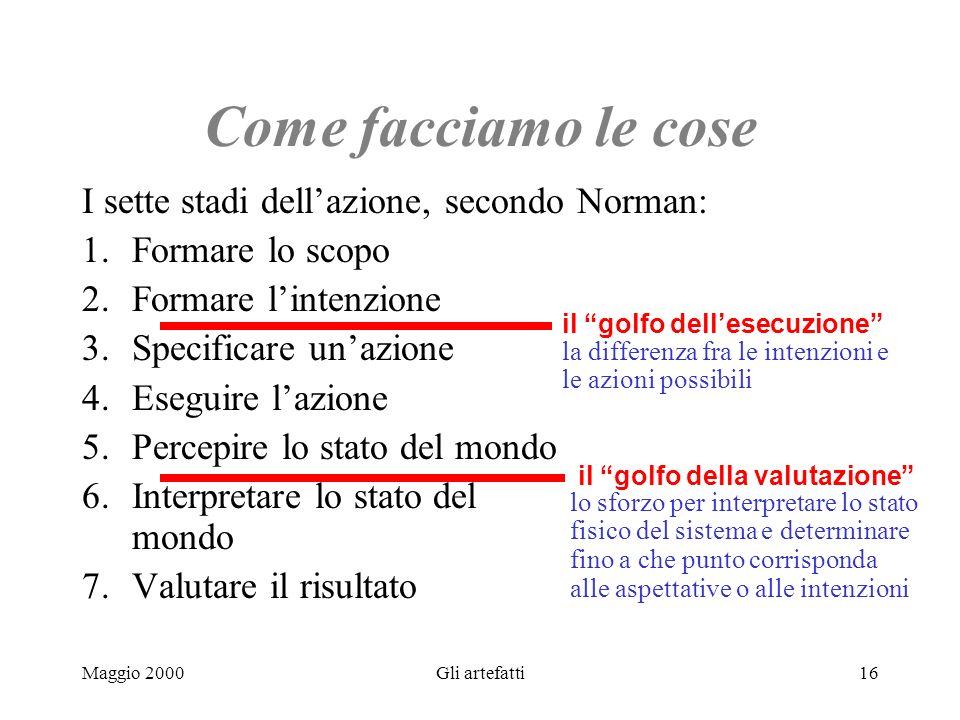 Maggio 2000Gli artefatti16 Come facciamo le cose I sette stadi dellazione, secondo Norman: 1.Formare lo scopo 2. Formare lintenzione 3. Specificare un