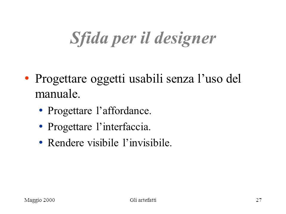 Maggio 2000Gli artefatti27 Sfida per il designer Progettare oggetti usabili senza luso del manuale. Progettare laffordance. Progettare linterfaccia. R