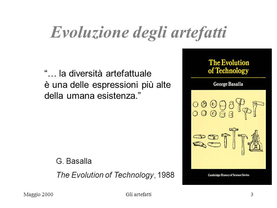 Maggio 2000Gli artefatti3 Evoluzione degli artefatti … la diversità artefattuale è una delle espressioni più alte della umana esistenza. G. Basalla Th